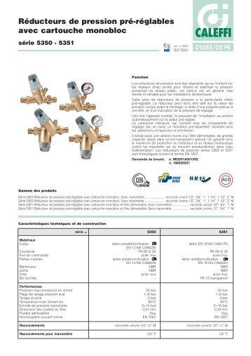 Réducteurs de pression pré-réglables avec cartouche ... - Caleffi