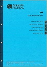 Instructions for operating - Durkopp Adler AG