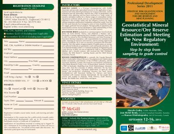 Geostatistical Mineral Resource/Ore Reserve Estimation and ... - SME