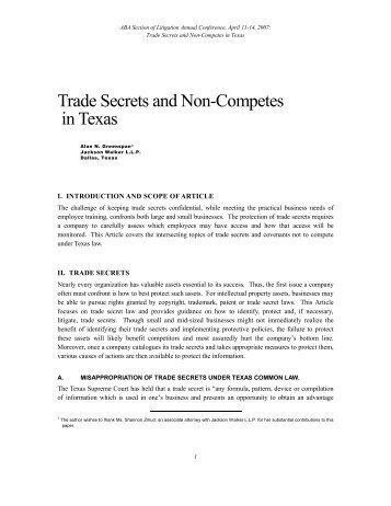 Trade Secrets and Non-Competes in Texas - Jackson Walker LLP