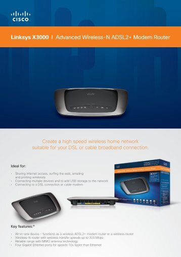 Linksys X3000 I Advanced Wireless-N ADSL2+ ... - RouterShop