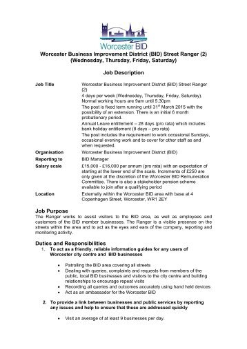 Worcester Business Improvement District (BID) Street Ranger (2 ...