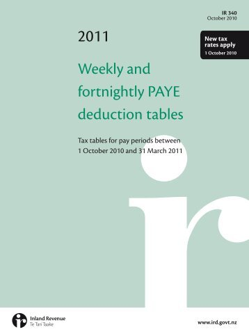 Weekly and fortnightly PAYE deduction tables - Inland Revenue ...