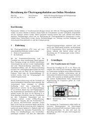 Berechnung der Übertragungsfunktion aus Online-Messdaten