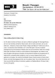 Mosaik / Passagen Sendedatum: 25.04.2013 - WDR 3
