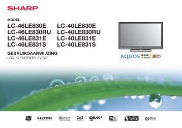 LC-40/46LE830E/RU/LE831E/RU Operation-Manual NL - Sharp
