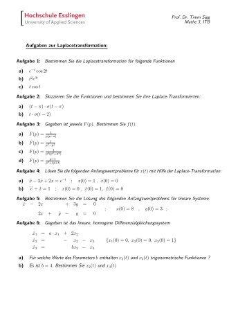 Aufgaben zur Laplacetransformation: Aufgabe 1: Bestimmen Sie die ...