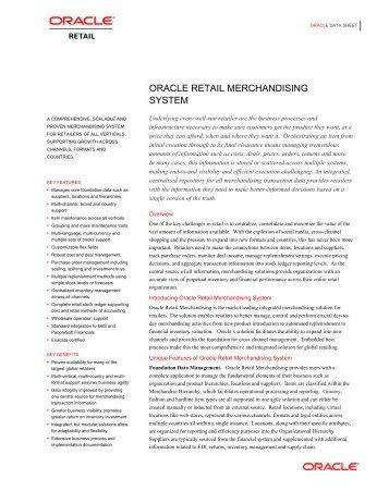Oracle Retail Merchandising System Data Sheet
