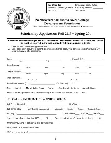 NEO Foundation Schol - Northeastern Oklahoma A&M College