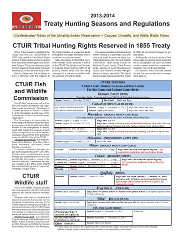 CTUIR Hunting Regulations - Confederated Tribes of the Umatilla ...