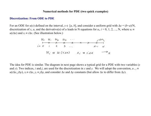 Numerical methods for PDE (two quick examples