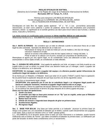 REGLAS OFICIALES DE SOFTBOL - Escuela Carmen Vera Arenas