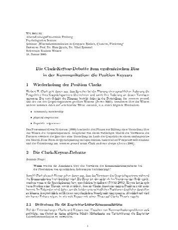 Position Keysars - Institut für Psychologie - Albert-Ludwigs ...