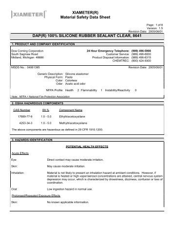 Xiameter R Material Safety Data Sheet Dap R 100
