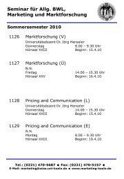 Seminar für Allg. BWL, Marketing und Marktforschung