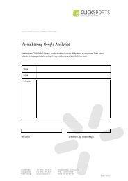 Vereinbarung Google Analytics