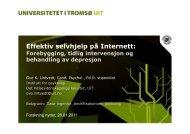 Forebygging, tidlig intervensjon og behandling av depresjon