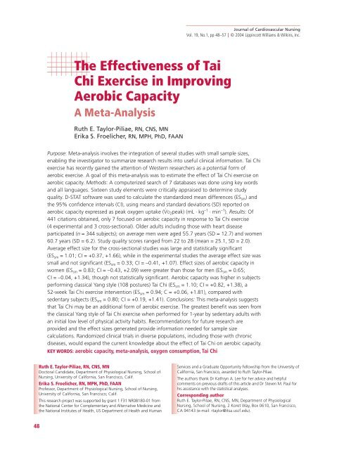 The Effectiveness of Tai Chi Exercise in Improving Aerobic Capacity