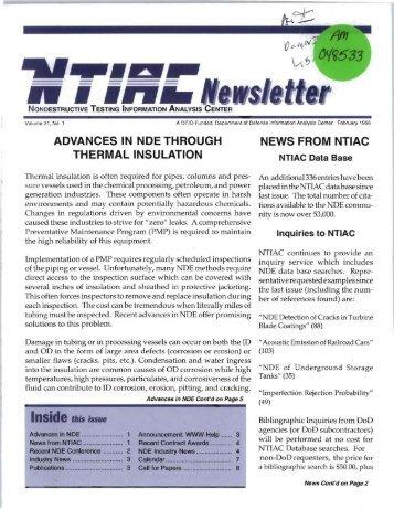 NTIAC Newsletter, Vol. 21, No. 1, February 1996 - Advanced ...