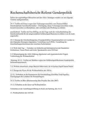 Rechenschaftsbericht Referat Genderpolitik