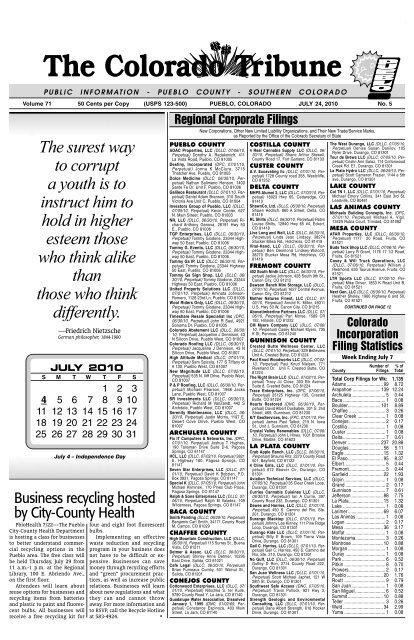 July 24 2010 The Colorado Tribune Pueblo