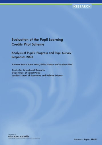 Evaluation of the Pupil Learning Credits Pilot Scheme - Digital ...
