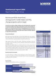 Semiannual report 2004 Report of the Mikron Group Business portfolio