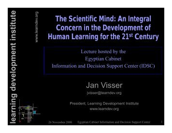 An integral Concern in the Development of Human Learning for the ...