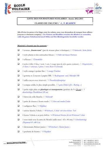 LISTE DES FOURNITURES SCOLAIRES ... - Collège Voltaire Berlin