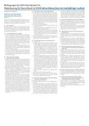 Bedingungen der AGA International S.A., Niederlassung für ...