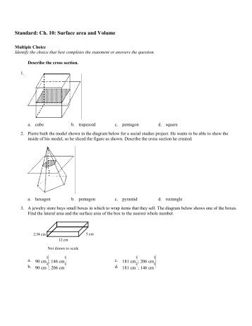 Integrated Geometry – H More Volume and Surface Area Practice 1 ...