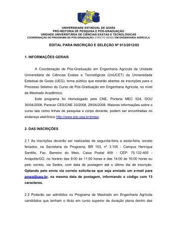 Edital Inscrições PMEA 2012/02 - PrP - UEG.