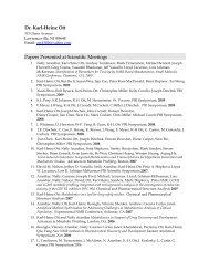 Dr. Karl-Heinz Ott Papers Presented at Scientific Meetings