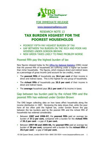 tax burden highest for the poorest households - The TaxPayers ...