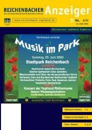15. Juni 2003 Parken auf dem Markt S. 6 Tipps + ... - Reichenbach