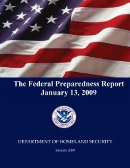 The Federal Preparedness Report January 13, 2009 - Federation of ...