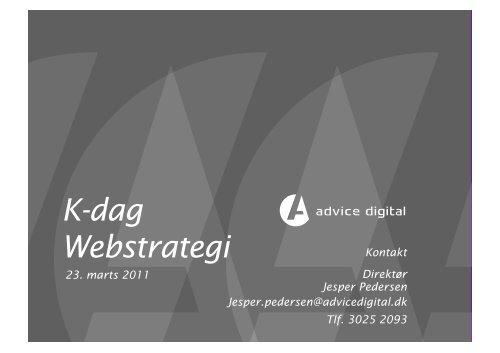 K-dag Webstrategi - Kommunikationsforum