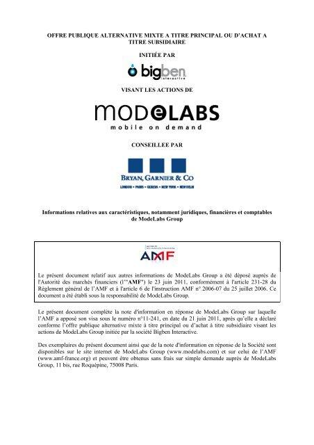 Informations relatives aux caracteristiques notamment ... - Modelabs