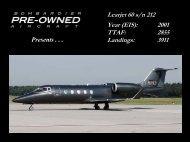Learjet 60 s/n 212 Year (EIS): 2001 TTAF: 2855 ... - Bombardier