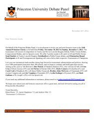 Tournament Packet Princeton Classic 2012 - The Yale Invitational