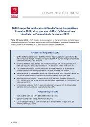 Saft Groupe SA publie son chiffre d'affaires du quatrième trimestre ...