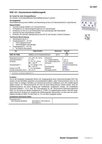 RXE 101: Volumenstrom-Additionsgerät