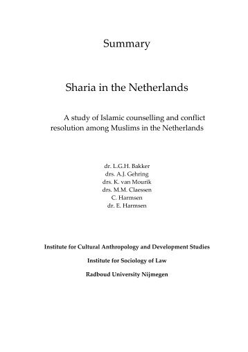 Summary Sharia in the Netherlands - WODC