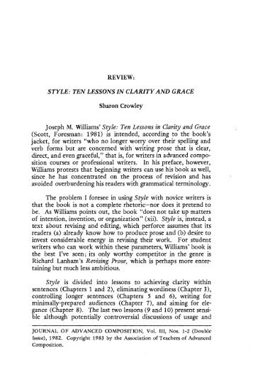 Style: Ten Lessons In Clarity and Grace by Joseph M ... - JAC Online