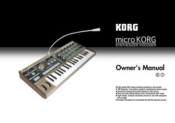 Korg Microkorg Owner's Manual - zZounds.com
