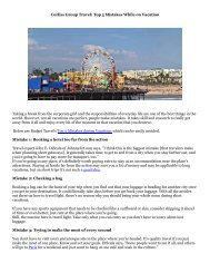 Corliss Group Travel: Top 5 Mistakes While on Vacation