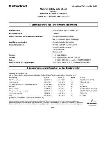 Material Safety Data Sheet 1. Stoff-/zubereitungs- und ... - Pinmar