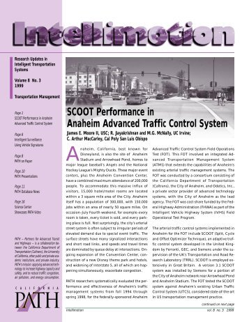 SCOOT Performance in Anaheim Advanced Traffic Control System