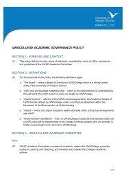 uwscollege academic governance policy - University of Western ...