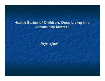 Health Status of Children: Does Living in a Community Matter?